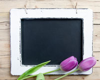 Blank Message board. With lilac flower and copy space Stock Photo