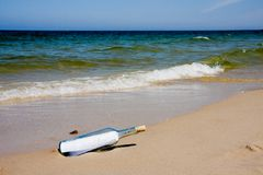 Blank message in bottle Royalty Free Stock Photos