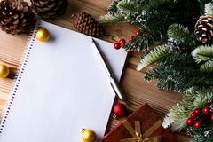 The blank message paper in christmas festive concept Royalty Free Stock Photography