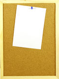 Blank message with a pin to corkboard Royalty Free Stock Photo