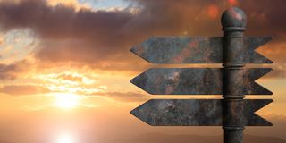 Metal pointer signposts on pole, isolated on sunset background. 3d illustration. Blank metal arrow signposts on metal pole, isolated on sunrise or sunset Stock Image