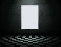 Blank metal frame in empty room royalty free illustration