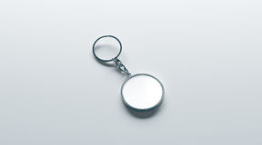 Blank metal round white key chain mock up isometric view. 3d rendering. Clear silver circular keychain design mockup isolated. Empty plain keyring souvenir Stock Photos