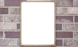 Blank metal sign board on brown brick wall Stock Images