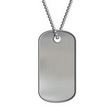 Blank metal tags hanging on a chain. ID military soldier. Isolat Stock Image