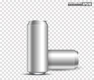 Blank metallic cans for design uses, isolated transparent background, 3d illustration. Eps10 Royalty Free Stock Photo