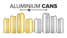 Blank Metallic Cans Set Vector. Empty Layout For Your Design. Energy Drink, Juice, Water Etc. Isolated Illustration. Blank Metallic Cans Set Vector. Empty Layout Royalty Free Stock Photography
