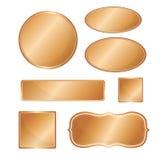 Blank metallic icon set copper Stock Photo