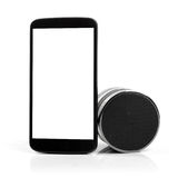 Blank mobile phone with bluetooth audio speaker Stock Images
