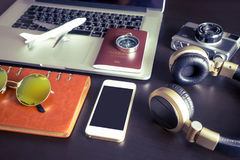 Blank Mobile phone screen with travel objects. For hipster traveler Royalty Free Stock Photography