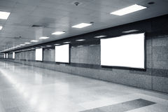 Blank Mock up Billboard Banner Light box in subway station Royalty Free Stock Photos