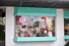 Blank mock up of store street showcase window.  stock photo