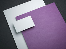 Blank mockup with two paper sheets and business card Stock Photography