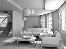 Blank modern interior. Of the privat apartment (3d Royalty Free Stock Image