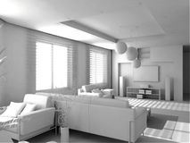 Blank modern interior. Of the privat apartment (3d Royalty Free Stock Images