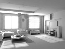 Blank modern interior. Of the privat apartment (3d Royalty Free Stock Photo