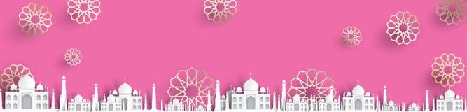 Blank mosque text background, modern elegant islamic design. Ramadhan kareem design paper art royalty free illustration