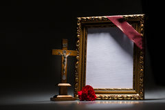 Blank mourning frame for condolence card Royalty Free Stock Photo