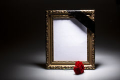 Blank mourning frame on the dark background Royalty Free Stock Photography