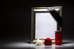 Blank mourning frame on the dark background Royalty Free Stock Photos