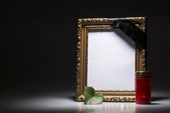 Blank mourning frame on the dark background Stock Image