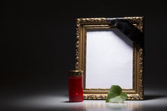 Blank mourning frame on the dark background Royalty Free Stock Image