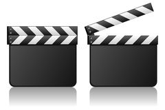 Blank Movie Clapboard Film Slate. Blank movie clapboard or film slate, on white background, in two positions: open and closed. Eps file available Stock Photography