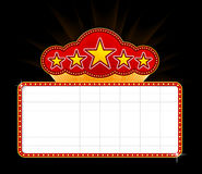 Blank movie marquee. Blank movie, theater or casino marquee with stars isolated on black background Royalty Free Stock Images