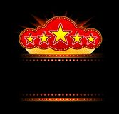 Blank movie, theater or casino marquee. With stars isolated on black background Royalty Free Stock Photography