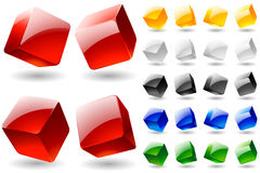 Blank multicolor cubes. Multicolor set of blank cubes. Glossy style on white background Stock Image