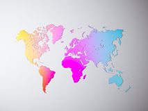 Blank Multicolor Texture Political World Map. 3D rendering. Empty Concrete wall background. High textured row materials Stock Photography
