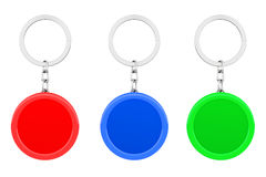 Blank Multicolour Round Metal Key Chain with Key Ring. 3d Render Royalty Free Stock Photo