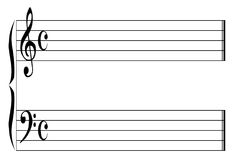 Blank Music Stave. Music ledger lines isolated on a white background Stock Photos