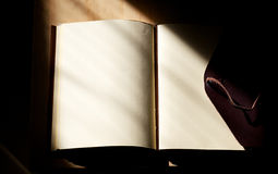 Blank mysterious leather bound journal Stock Photo