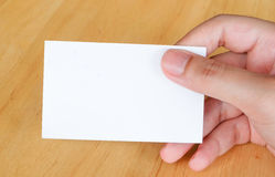 Blank name card in hand background Stock Photo