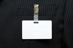 Blank name tag on suit royalty free stock photos