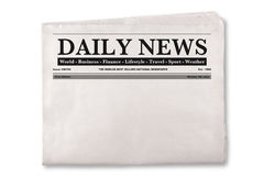 Blank Daily Newspaper. Mock up of a blank Daily Newspaper with empty space to add your own news or headline text and pictures Stock Photography