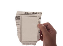Blank newspaper classified ad Royalty Free Stock Photo