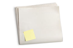 Blank Newspaper and Sticky Note royalty free stock image