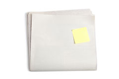 Blank Newspaper and Sticky Note Stock Photography