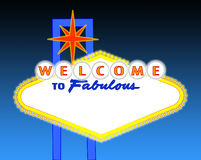 Blank night time Las Vegas sign. Illustration of the neon illuminated Las Vegas sign left blank for your text Royalty Free Stock Photography
