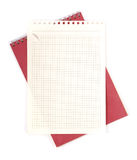 Blank Note. White sheet over notepad isolated on white background Stock Photo