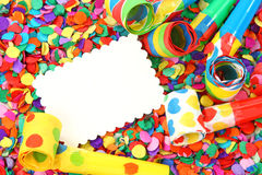Blank note. On colorful confetti Royalty Free Stock Images