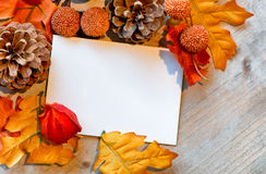 Blank Note Amongst Autumn Foliage Stock Images