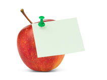 Blank note on apple for healthy eating Royalty Free Stock Images