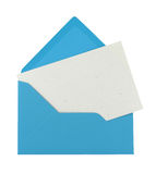 Blank note in a blue envelope Stock Photos