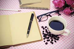 Blank note book with coffee Royalty Free Stock Photo