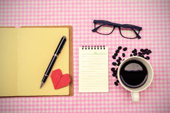 Blank note book with coffee Royalty Free Stock Image
