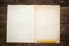 Blank Note Book page With Wood Pencil on Table Royalty Free Stock Photos
