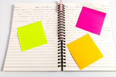 Blank note book  with post it. Blank note book  with colorful post it Stock Images